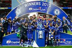 Chelsea celebrate with the trophy after winning the Capital One Cup Final - Photo mandatory by-line: Rogan Thomson/JMP - 07966 386802 - 01/03/2015 - SPORT - FOOTBALL - London, England - Wembley Stadium - Chelsea v Tottenham Hotspur - Capital One Cup Final.