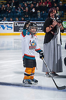 KELOWNA, CANADA - DECEMBER 3: The Pepsi Save-on Foods Player of the game lines up with the Kelowna Rockets against the Saskatoon Blades on December 3, 2014 at Prospera Place in Kelowna, British Columbia, Canada.  (Photo by Marissa Baecker/Shoot the Breeze)  *** Local Caption *** Pepsi Save On Foods Player;