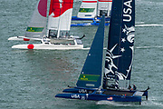SailGP Teams Japan, France and USA line up for the start of a practice race. Event 4 Season 1 SailGP event in Cowes, Isle of Wight, England, United Kingdom. 8 August 2019: Photo Chris Cameron for SailGP. Handout image supplied by SailGP