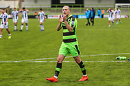Forest Green Rovers Liam Noble(15) applauds the fans during the Vanarama National League match between Forest Green Rovers and Chester FC at the New Lawn, Forest Green, United Kingdom on 14 April 2017. Photo by Shane Healey.