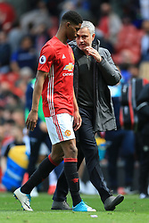 30th April 2017 - Premier League - Manchester United v Swansea City - Man Utd manager Jose Mourinho speaks to Marcus Rashford of Man Utd after the match - Photo: Simon Stacpoole / Offside.