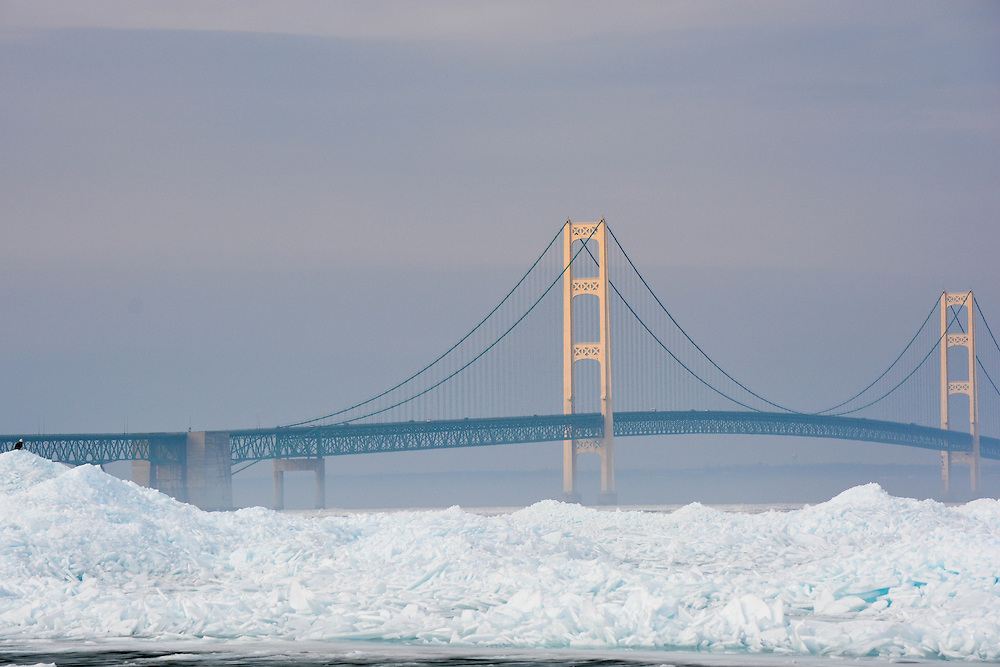 Panoramic View Of The Mackinac Bridge In The Straits Of Mackinac