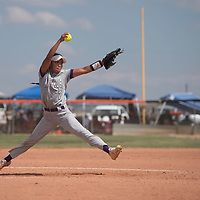 Lakisha Shorty (7) pitches for the Miyamura Patriots during their NMAA Baseball State Championship semifinal game against the Gallup Bengals Thursday in Gallup.