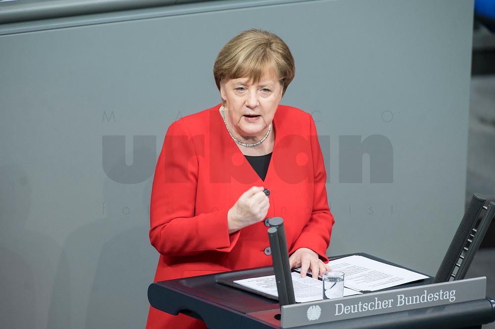 21 MAR 2019, BERLIN/GERMANY:<br /> Angela Merkel, CDU Bundeskanzlerin, waehrend einer  Regierungserklaerung zum Europaeischen Rat, Plenum, Deutscher Bundestag<br /> IMAGE: 20190321-01-037