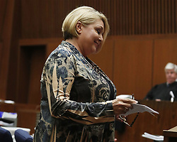 June 9, 2017 - Los Angeles, California, U.S - Samantha Geimer appears at Los Angeles Superior Court for a motion hearing in Los Angeles on Friday, June 9, 2017. Geimer, director Roman Polanski's sexual assault victim, asked a judge Friday to end the 40-year-old case against the fugitive director. (Credit Image: © Prensa Internacional via ZUMA Wire)
