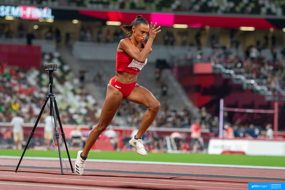 TOKYO, JAPAN August 1:   Bronze medal winner  Ana Peleteiro of Spain on the runway during the triple jump final in the Track and Field competition at the Olympic Stadium  at the Tokyo 2020 Summer Olympic Games on July 31, 2021 in Tokyo, Japan. (Photo by Tim Clayton/Corbis via Getty Images)