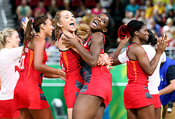 England's Helen Housby (left) and Jodie Gibson celebrate their win against New Zealand in the netball at the Gold Coast Convention and Exhibition Centre during day seven of the 2018 Commonwealth Games in the Gold Coast, Australia.