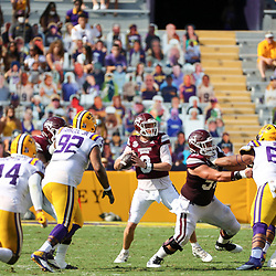 Sep 26, 2020; Baton Rouge, Louisiana, USA; Mississippi State Bulldogs quarterback K.J. Costello (3) throws against the LSU Tigers during the first half at Tiger Stadium. Mandatory Credit: Derick E. Hingle-USA TODAY Sports