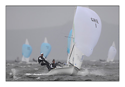470 Class European Championships Largs - Day 2.Wet and Windy Racing in grey conditions on the Clyde...GRE1, Antonis TSIMPOUKELIS, Pavlos KAGIALIS ...