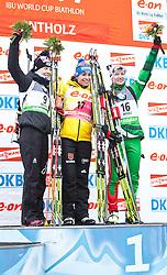 """19.01.2012, Südtirol Arena, Antholz, ITA, E.ON IBU Weltcup, 6. Biathlon, Antholz, Sprint Damen, im Bild zweite Kaisa Maekaeraeinen (FIN), Siegerin Magdalena Neuner (GER) und die drittplatzierte Darya Domracheva (BLR) // second Place Kaisa Maekaeraeinen (FIN), first Place for Magdalena Neuner (GER) and third place for Darya Domracheva (BLR) during Sprint Women E.ON IBU World Cup 6th, """"South Tyrol Arena"""", Antholz-Anterselva, Italy on 2012/01/19, EXPA Pictures © 2012, PhotoCredit: EXPA/ Juergen Feichter"""