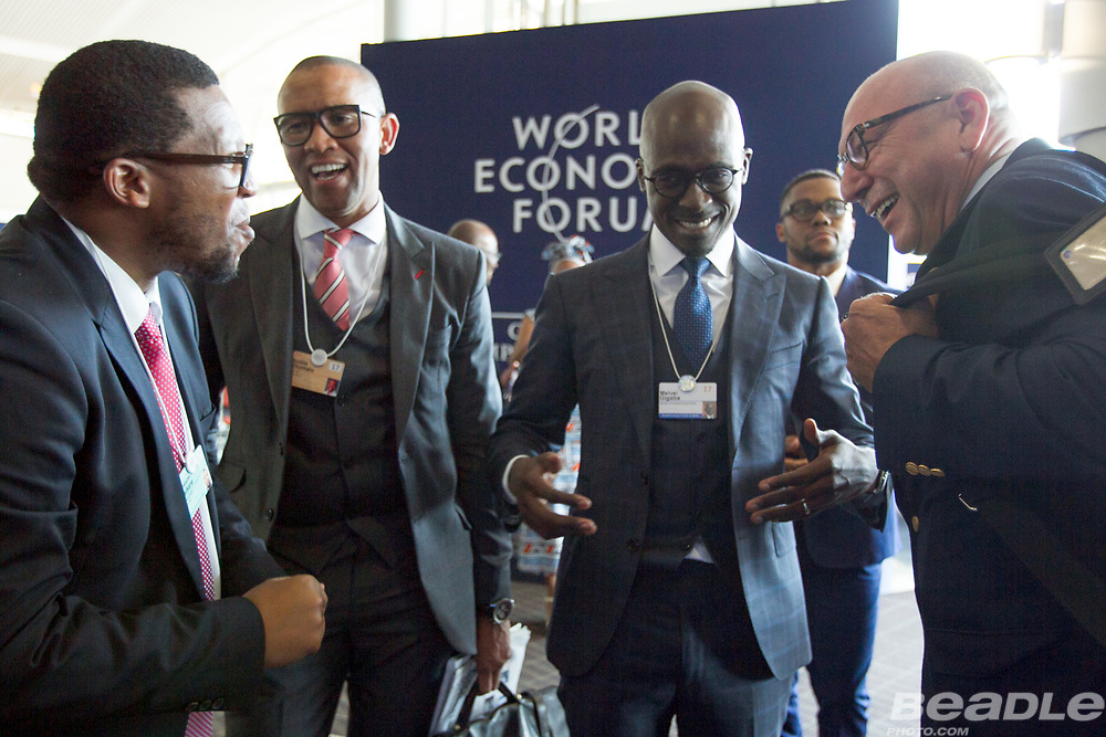 Malusi Gigaba, Minister of Finance<br /> Ministry of Finance of South Africa shares a joke with ex-finance minister Trevor Manuel, Chairman<br /> Old Mutual Emerging Markets, South Africa at the World Economic Forum on Africa 2017 in Durban, South Africa. Copyright by World Economic Forum / Greg Beadle