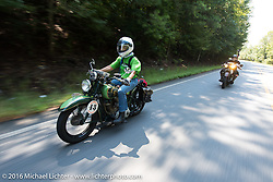 Dottie Mattern riding her 1936 Indian Scout during Stage 3 of the Motorcycle Cannonball Cross-Country Endurance Run, which on this day ran from Columbus, GA to Chatanooga, TN., USA. Sunday, September 7, 2014.  Photography ©2014 Michael Lichter.