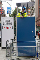 Police observation platform along Oxford Street London to make the Public feel safer and try enforce social distancing rules photo by Brian Jordan