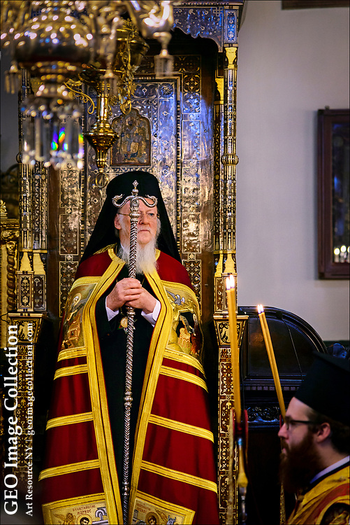 The Ecumenical Patriarch of Constantinople, Bartholomew I, spiritual leader of the world's 300 million Orthodox Christians, celebrates Christmas Day Mass at the Church of St. George in Istanbul.  The Greek Orthodox Church in Istanbul traces its origins back through a continuous line of patriarchs to the 4th Century.