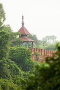 A tower along the old city wall of the ancient city Ava, in Myanmar