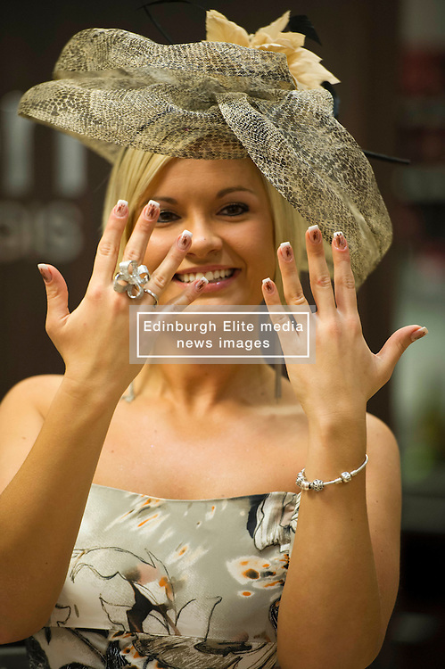 Dorota Drozdz admires her horse head nails from Allure Medi Spain Debenhams at Ocean Terminal to get ready for Ladies Day at Musselburgh Race Course. 11 June 2012 (Ger Harley   StockPix).