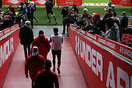 Wales players and coaching staff walk out of the tunnel for the Wales Rugby captains run, ahead of tomorrows RBS Six nations match against England. Principality Stadium, Cardiff, South Wales on Friday 10th Feb 2017.   pic by  Andrew Orchard, Andrew Orchard sports photography.