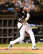CHICAGO - AUGUST 22:  Tim Anderson #7 of the Chicago White Sox bats against the Texas Rangers on August 22, 2019 at Guaranteed Rate Field in Chicago, Illinois.  (Photo by Ron Vesely)  Subject:   Tim Anderson