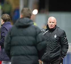 Hibernian's manager Alan Stubbs and Falkirk's manager Peter Houston at the end.<br /> Falkirk 1 v 0 Hibernian, Scottish Championship game played 6/12/2014 at The Falkirk Stadium .