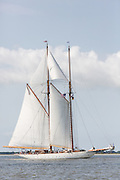 The 196-foot sailing yacht Germania Nova sails Charleston Harbor June 26, 2013 in Charleston, South Carolina.