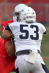 02 September 2017:   Danny Banks gets his hands on the face mask of Drew Himmelman during the Butler Bulldogs at  Illinois State Redbirds Football game at Hancock Stadium in Normal IL (Photo by Alan Look)