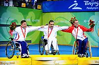 Paralympics<br /> Bordtennis<br /> 11.09.2008<br /> Foto: imago/Digitalsport<br /> NORWAY ONLY<br /> <br /> Siegerehrung Paralympics 2008 (Schadensklasse 4/5), v.li.: Zweiter Jung Eun Chang (Südkorea), Sieger Christophe Durand (Frankreich) und Dritter Tommy Urhaug (Norwegen)