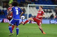 Grant Leadbitter of Middlesbrough looks to go past Cardiff's Fabio Da Silva (3). Skybet football league championship match, Cardiff city v Middlesbrough at the Cardiff city Stadium in Cardiff, South Wales  on Tuesday 20th October 2015.<br /> pic by  Andrew Orchard, Andrew Orchard sports photography.