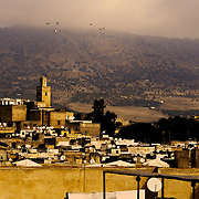 Skyline of the ancient medina in Fez. Founded in the 9th century, the medina is a UNESCO world heritage site.