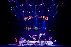 The Mad Hatter's Tea Party <br /> by Zoo Nation<br /> directed by Kate Prince<br /> presented by Zoo Nation, The Roundhouse & The Royal Opera House<br /> at The Roundhouse, London, Great Britain <br /> rehearsal <br /> 29th December 2016 <br /> <br /> <br /> <br /> Issac Turbo Baptiste<br /> as the Mad Hatter <br /> <br /> <br /> <br /> Bradley Charles as the March Hare <br /> <br /> <br /> Photograph by Elliott Franks <br /> Image licensed to Elliott Franks Photography Services