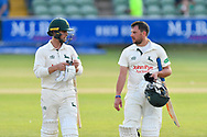 Jake Libby of Nottinghamshire and Steven Mullaney of Nottinghamshire walk of the pitch at the end of play after a 112 run not out opening partnership in Nottinghamshires second innings during the Specsavers County Champ Div 1 match between Somerset County Cricket Club and Nottinghamshire County Cricket Club at the Cooper Associates County Ground, Taunton, United Kingdom on 10 June 2018. Picture by Graham Hunt.