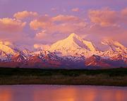 Early morning light illuminating 11,940 foot Mt. Brooks of the Alaska Range with tundra pond, Denali National Park, Alaska.