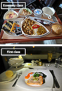 Airline Food: Economy Vs. First Class <br /> <br /> What used to be a woman's size 12 in 1968 is a woman's size 4 today; what used to be third-class is economy-class today. What changed? We've grown more sensitive: I'm not overweight, I still fit into a size 12. I'm not a third-class passenger, I'm a price conscious individual that rides in economy-class.<br /> Despite the name games, airline food hasn't changed much. Economy class meals still come in a wrapper, and business or first-class meals come with real cutlery. This list shows the sometimes striking difference between what the different classes eat.<br /> <br /> Photo shows: Emirates Airlines<br /> ©Exclusivepix Media