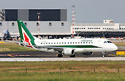 Alitalia, Embraer ERJ-175LR. Photographed at Linate airport, Milan, Italy
