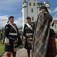 Blair Castle, Blair Atholl, Perthshire 26th May 2007 .For the first time in the history of the dukedom of Atholl, there will be three generations of the duke's family at this year's Atholl Highlanders' Parade.  The Atholl Highlanders are the only remaining private army in Europe having been granted the .right to bear arms in the 1840s by Her Majesty Queen Victoria. The Regiment gather annually on the last weekend of May at Blair Castle in Highland Perthshire, and the parade proves to be a popular tourist attraction.