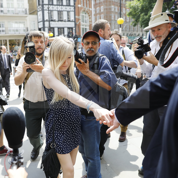 © Licensed to London News Pictures. 10/07/2017. London, UK. Connie Yates and <br /> Chris Gard arrive at The High Court in London on 10 July 2017. The parents of terminally ill Charlie Gard have returned to the High Court in light of new evidence relating to potential treatment for their son's condition. An earlier lengthy legal battle ruled that Charlie could not be taken to the US for experimental treatment. London, UK. Photo credit: Tolga Akmen/LNP