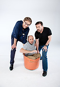 Karl Pilkington (Bald Head, Grey top), Ricky Gervais ( Black T) and Steven Merchant ( Blue Shirt).