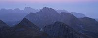 Twilight view over mountain landscape from summit of Markan (600m), Moskenesøy, Lofoten Islands, Norway