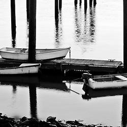 Skiffs in Rye Harbor, New Hampshire.
