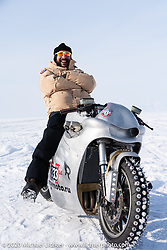 "Russian rapper Levan formally known as ""L1"" (with 2-million Instagram followers) on Yaroslav Tatarinov's custom Kawasaki 1350 GTR at the Baikal Mile Ice Speed Festival. Maksimiha, Siberia, Russia. Saturday, February 29, 2020. Photography ©2020 Michael Lichter."