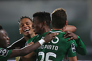 Gelson Dala of Rio Ave scores and celebrates his goal during the Europa League match between Rio Ave FC and AC Milan at Estadio dos Arcos, Vila do Conde, Portugal on 1 October 2020.
