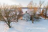 63895-17512 Aerial view of Pleasant Grove Church at sunrise in winter Marion Co. IL