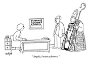 """Angela, I want a divorce."" (a man visits his wife who works for the Marriage Guidance Council with his lover, a priest)"