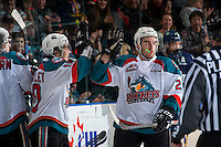 KELOWNA, CANADA - FEBRUARY 13: Reid Gardiner #23 high fives Nick Merkley #10 of the Kelowna Rockets on a third period goal against the Seattle Thunderbirds on February 13, 2017 at Prospera Place in Kelowna, British Columbia, Canada.  (Photo by Marissa Baecker/Shoot the Breeze)  *** Local Caption ***