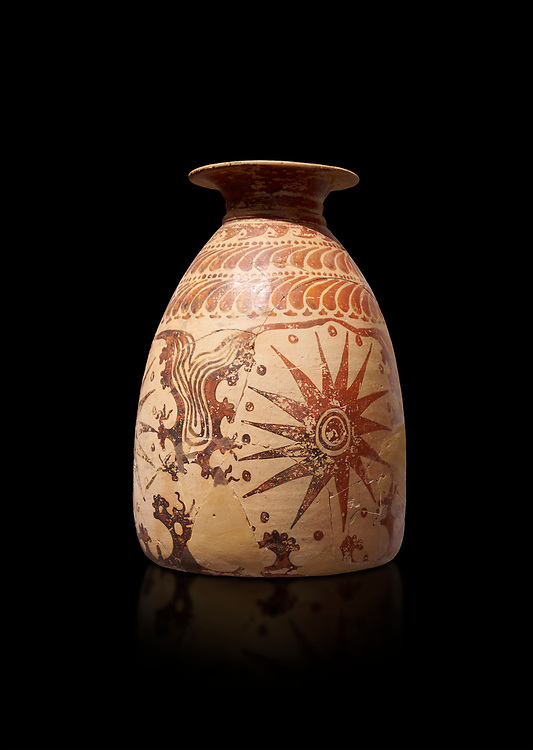 Minoan clay vase with marine design, Speial Palatial Tradition , Knossos Palace 1500-1450 BC BC, Heraklion Archaeological  Museum, black background. .<br /> <br /> If you prefer to buy from our ALAMY PHOTO LIBRARY  Collection visit : https://www.alamy.com/portfolio/paul-williams-funkystock/minoan-art-artefacts.html . Type -   Heraklion   - into the LOWER SEARCH WITHIN GALLERY box. Refine search by adding background colour, place, museum etc<br /> <br /> Visit our MINOAN ART PHOTO COLLECTIONS for more photos to download  as wall art prints https://funkystock.photoshelter.com/gallery-collection/Ancient-Minoans-Art-Artefacts-Antiquities-Historic-Places-Pictures-Images-of/C0000ricT2SU_M9w