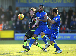 Joe Partington of Bristol Rovers takes on Liam Trotter and Andy Barcham of AFC Wimbledon - Mandatory by-line: Robbie Stephenson/JMP - 17/02/2018 - FOOTBALL - Cherry Red Records Stadium - Kingston upon Thames, England - AFC Wimbledon v Bristol Rovers - Sky Bet League One