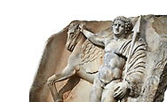 """Close up of a Roman Sebasteion relief  sculpture of  Bellerophon Aphrodisias Museum, Aphrodisias, Turkey.    <br /> <br /> Bellerophon was a Lykian hero and was claimed as a founder of Aphrodisias. He holds his winged horse Pegasos. The deign was modelled on another relief panel in the series """"Royal hero with Dod Hunting"""". The carving is poor and the sculptor may have been a novice.modelled .<br /> <br /> If you prefer to buy from our ALAMY STOCK LIBRARY page at https://www.alamy.com/portfolio/paul-williams-funkystock/greco-roman-sculptures.html . Type -    Aphrodisias     - into LOWER SEARCH WITHIN GALLERY box - Refine search by adding a subject, place, background colour, museum etc.<br /> <br /> Visit our ROMAN WORLD PHOTO COLLECTIONS for more photos to download or buy as wall art prints https://funkystock.photoshelter.com/gallery-collection/The-Romans-Art-Artefacts-Antiquities-Historic-Sites-Pictures-Images/C0000r2uLJJo9_s0"""