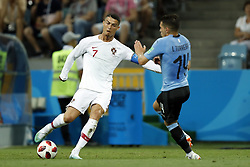 (l-r) Cristiano Ronaldo of Portugal, Lucas Torreira of Uruguay during the 2018 FIFA World Cup Russia round of 16 match between Uruguay and at the Fisht Stadium on June 30, 2018 in Sochi, Russia