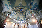 Interior of an abandoned synagogue built in 1927. Lucenec, Slovakia
