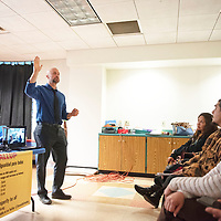 Bill McCamley, Cabinet Secretary for Department of Workforce Solutions speaks at a Somos Gallup meeting concerning wage theft Wednesday at the Octavia Fellin Public Library Children's Branch in Gallup.