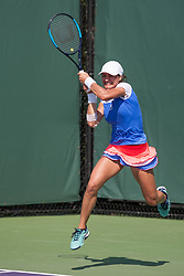 March 20, 2018 - Key Biscayne, FL, U.S. - Key Biscayne, FL - MARCH 20: Monica Niculescu (ROU) competes during the qualifying round of the 2018 Miami Open on March 20, 2018, at Tennis Center at Crandon Park in Key Biscayne, FL. (Photo by Aaron Gilbert/Icon Sportswire) (Credit Image: © Aaron Gilbert/Icon SMI via ZUMA Press)